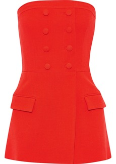 Lela Rose Woman Strapless Wool-blend Crepe Peplum Top Tomato Red