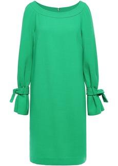 Lela Rose Woman Tie-detailed Wool-blend Crepe Dress Green