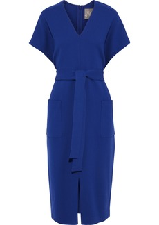 Lela Rose Woman Tie-front Wool-blend Crepe Dress Royal Blue