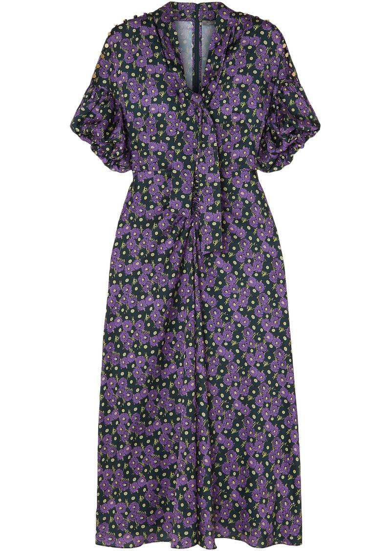 Lela Rose Woman Pussy-bow Printed Crepe De Chine Midi Dress Purple