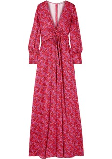 Lela Rose Woman Twist-front Floral-print Twill Gown Fuchsia