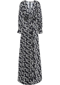 Lela Rose Woman Twist-front Floral-print Twill Gown Midnight Blue