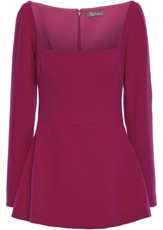 Lela Rose Woman Wool-blend Crepe Peplum Top Magenta
