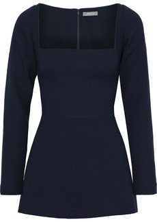 Lela Rose Woman Wool-blend Crepe Peplum Top Midnight Blue