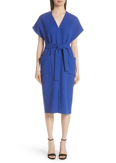 Lela Rose Wool Blend Crepe Belted Dress