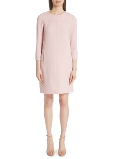 Lela Rose Wool Blend Crepe Shift Dress