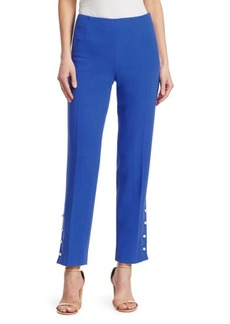 Lela Rose Wool Crepe Pants with Faux-Pearl Buttons