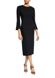 Lela Rose Wool Crepe Pearly-Sleeve Seamed Sheath Dress