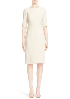 Lela Rose Wool Crepe Sheath Dress