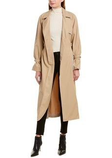 Lela Rose Wool-Trim Trench Coat