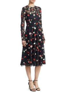 Lela Rose Long Sleeve Floral Lace Midi Dress