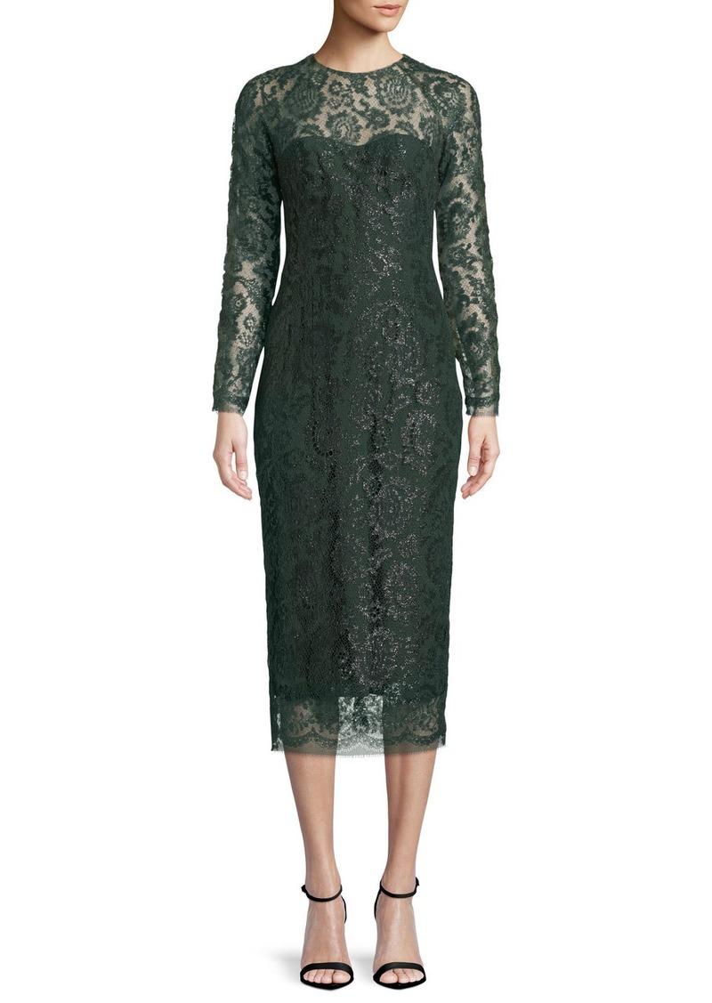 Lela Rose Long-Sleeve Jewel-Neck Lace Sheath Cocktail Dress