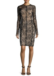Lela Rose Long-Sleeve Lace Sheath Dress  Black