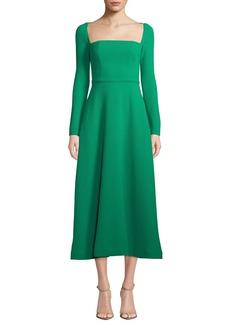 Lela Rose Long-Sleeve Square-Neck Stretch Wool Dress
