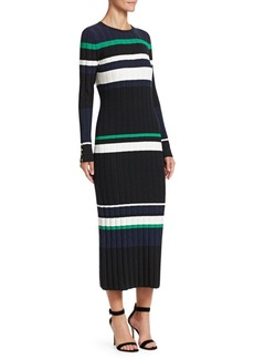 Lela Rose Long-Sleeve Striped Knit Dress