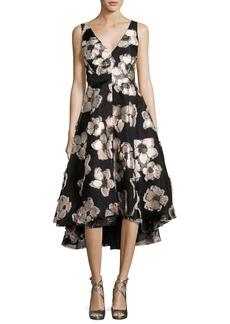 Lela Rose Metallic Floral Fil Coupé High-Low Dress