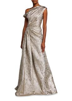 Lela Rose Metallic One-Shoulder Gown