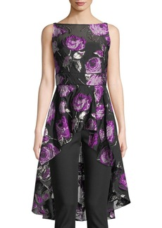 Lela Rose Metallic Rose Fil Coupe High-Low Peplum Top