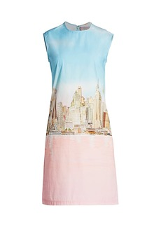 Lela Rose NYC Skyline Cotton Poplin Shift Dress