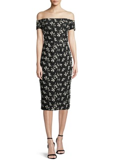 Lela Rose Off-the-Shoulder Bow-Back Floral-Embroidered Sheath Dress