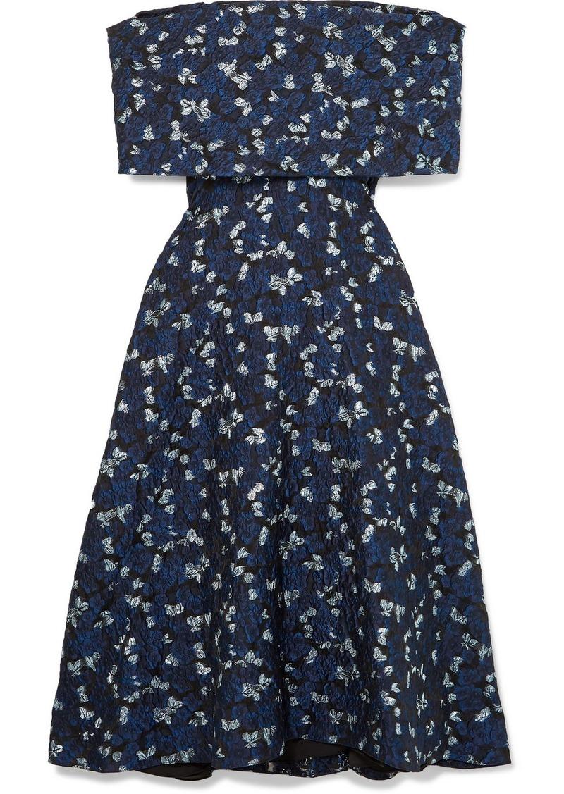 Lela Rose Off-the-shoulder Cloqué Midi Dress