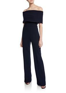 Lela Rose Off-the-Shoulder Crepe Jumpsuit