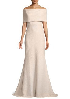 Lela Rose Off-the-Shoulder Embellished Tweed A-Line Evening Gown