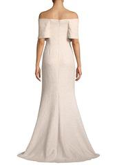 Lela Rose Off-the-Shoulder Embellished Tweed A-Line Evening Gown