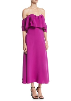 Lela Rose Off-the-Shoulder Ruffle A-Line Silk Dress