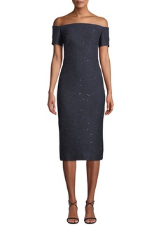 Lela Rose Off-the-Shoulder Sequin Tweed Cocktail Dress