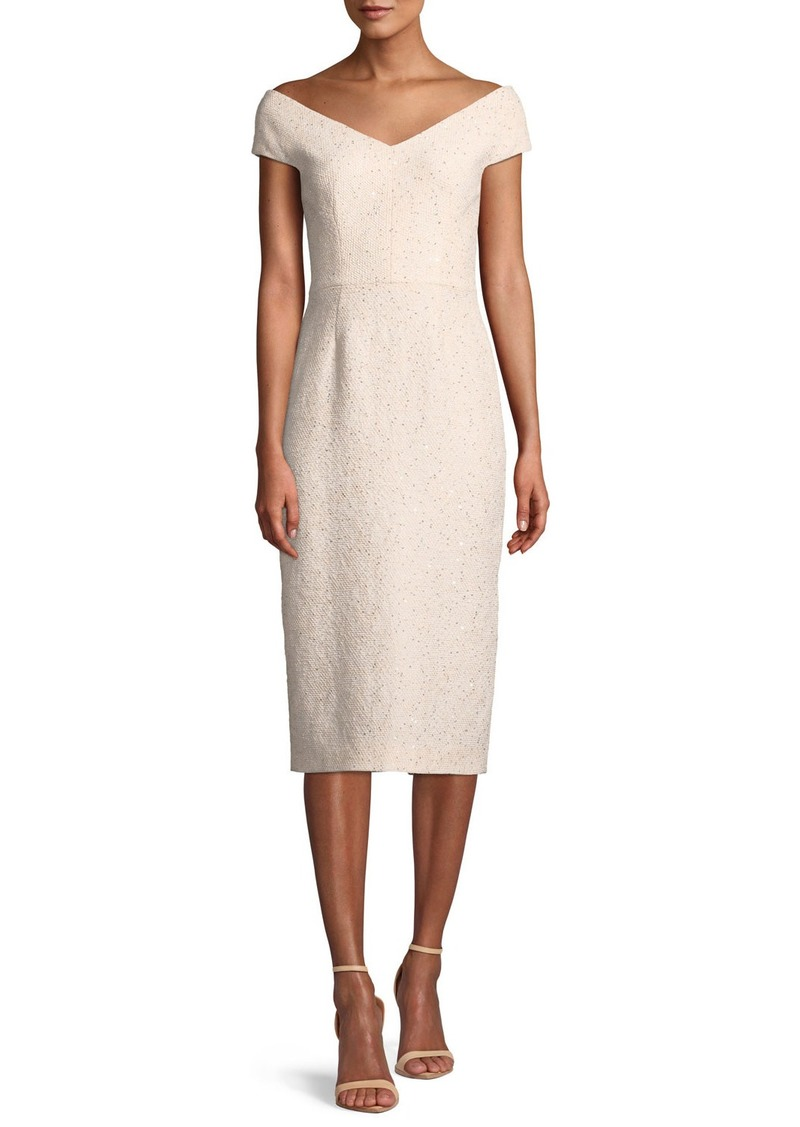 Lela Rose Open-Neck Cap-Sleeve Fitted Sequin Tweed Cocktail Dress