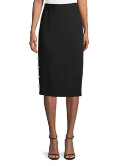 Lela Rose Pencil Skirt with Pearly Buttons