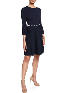 Lela Rose Pleated Dress with Button Details