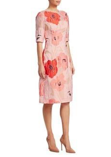 Lela Rose Poppy Elbow Sleeve Dress