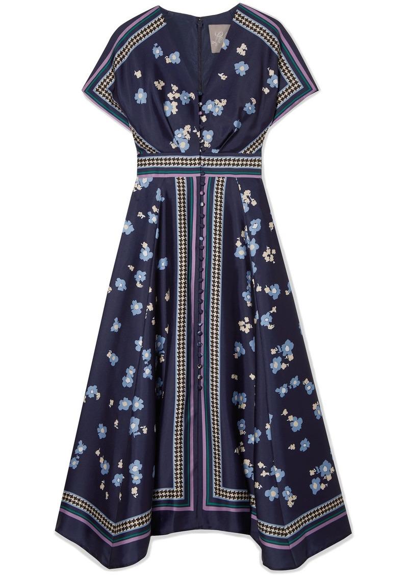 Lela Rose Printed Satin-twill Midi Dress