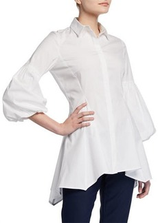 Lela Rose Puff-Sleeve Cotton Poplin
