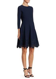 Lela Rose Crochet Hem Fit-And-Flare Dress