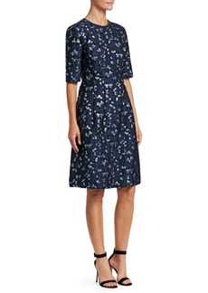 Lela Rose Holly Textured Flare Dress