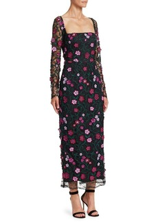 Lela Rose Resort Lace Floral Midi Dress