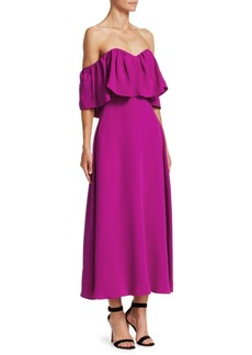 Lela Rose Resort Off-The-Shoulder Silk Ruffle Dress