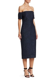 Lela Rose Sequin Embroidery Tweed Midi Dress