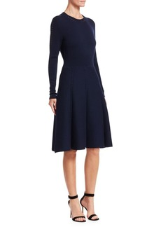 Lela Rose Wool Long-Sleeve Flare Dress