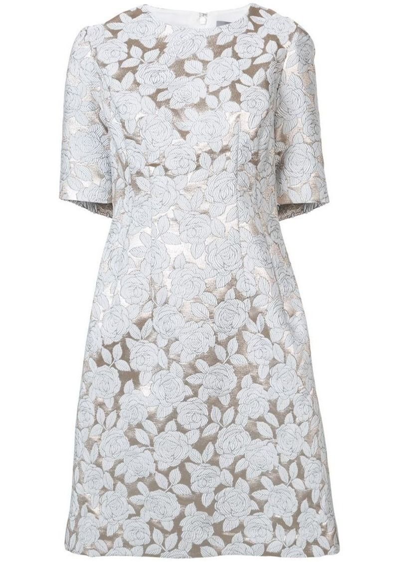 Lela Rose rose appliqué midi dress