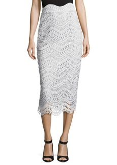 Lela Rose Scalloped Lace High-Waist Pencil Skirt