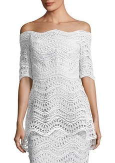 Lela Rose Scalloped Lace Off-the-Shoulder Top