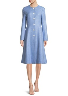 Lela Rose Seamed Flared Button-Front Woven Top Coat