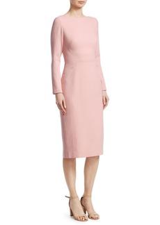 Lela Rose Seamed Wool Sheath Dress