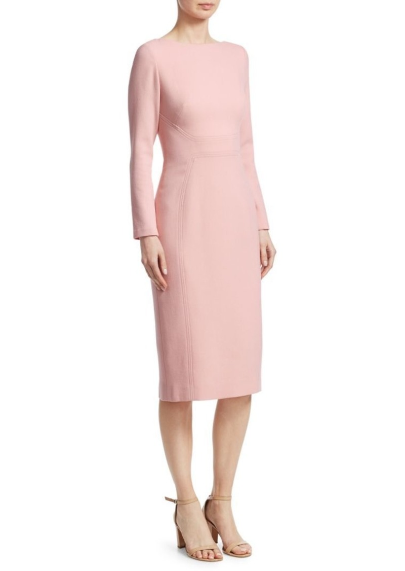 Lela Rose Seamed Wool Sheath Dress