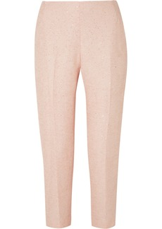 Lela Rose Sequined Tweed Slim-leg Pants