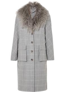 Lela Rose Shearling-trimmed Checked Woven Coat
